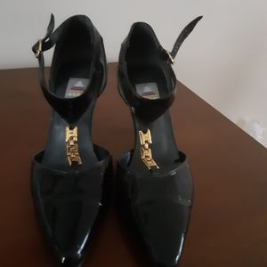 ALDO black Leather Pointy Toe Ankle Strap Heels Wo